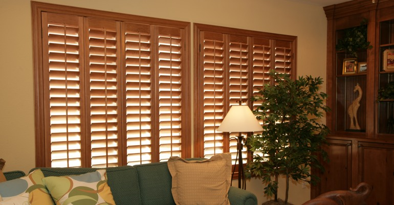 Wood shutters in Southern California living room.