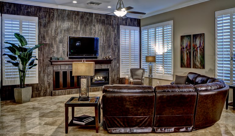Plantation Shutters In A Southern California Living Room.