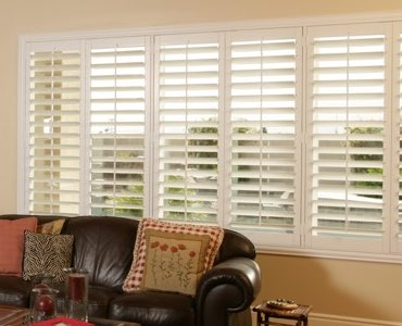 Southern California wide window shutter living room